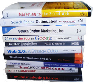 Book stack of internet marketing.